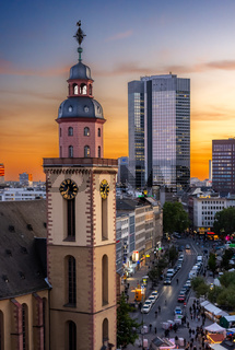 Aerial view over over Frankfurt at sunset