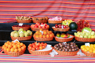 Portuguese market stall with various fresh fruits
