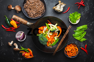 Ingredients for making stir-fried noodles