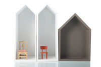 Simple white houses with furniture