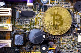 Bitcoin coins and printed circuit board PCB