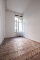 empty room with old wooden floor - apartment renovation concept