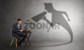 Businessman shadow yelling to himself concept