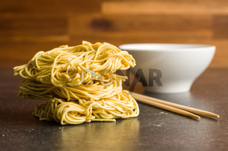 Uncooked instant chinese noodles.
