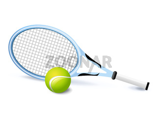 Tennis racket and green ball icon isolated, sports equipment, vector illustration.