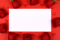 Red roses hearts and blank card