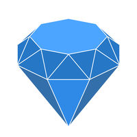 Diamond shape in 3d and blue shades. Geometric style.