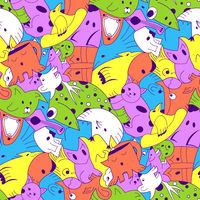 Cute monster party vector kids seamless pattern.