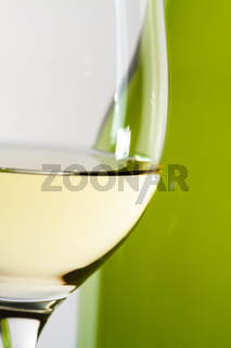 white wine bottle with a glass details