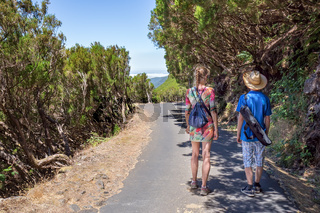 Mother and son walking in portuguese nature
