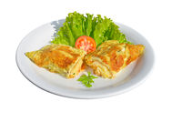 Omelet stuffed with melted cheese and salad