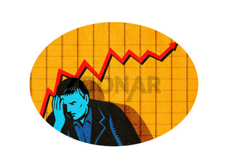 Depressed Businessman Upward Line Graph Oval Retro