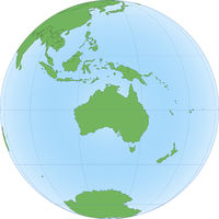 Topographic map of Australia on the Globe
