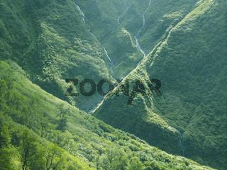 Streams Of Glacial Water On The Mountain Side. Mountainous Landscape Near Juneau, AK