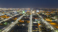 Darkness Before Sunrise Aerial Perspective Downtown City Skyline Albuquerque New Mexico