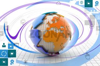 Globe around with arrow
