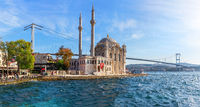 Ortakoy Mosque and the Bosphorus Bridge, close view panorama, Istanbul