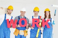 Construction workers with work letters