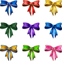 Cartoon style bows isolated on white background