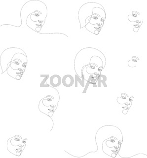 Set of minimal and abstract continuous line drawings of portrait of a beautiful woman face. Fashion beauty model on a white background. The concept of skin beauty care for young female models. Vector