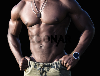 Torso of a Muscular African American Man