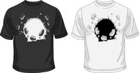 Black and white T-shirt template with broken hole