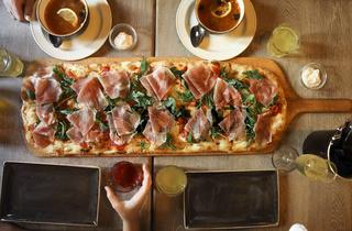 Italian big pizza, top view