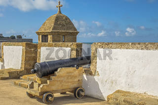 Cannon On The Old City Wall,  Cadiz, Andalucia, Spain