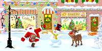 Santa Claus, deer and snowman on a snowy city street