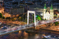 Aerial view Budapest with Elizabeth Bridge over Danube