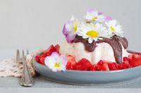 Vanille- Erdbeer- Eis mit Schokosoße und Erdbeersalat
