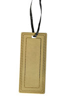 cardboard tag on a black rope isolated on a white background