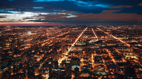 Afternoon Cityscape Chicago Illinois Architecture City Skyline Landscape Urban Center Lights Aerial