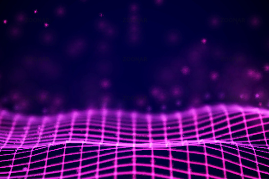 Virtual reality concept: 3D Red digital wireframe grid with floating particles.