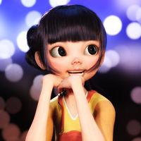 Digital 3D Illustration of a Toon Girl