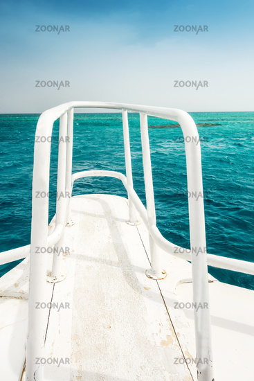 Boat Wave ocean trace on blue sea fresh water background.