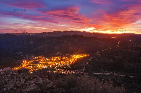 Sunset in Robledo de Chavela west mountain range of Madrid, Spain.