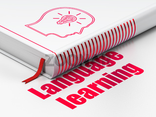 Learning concept: book Head With Lightbulb, Language Learning on white background