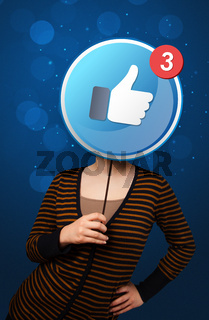 Woman holding facebook sign