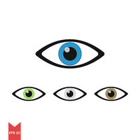 Vector icon for eye in few colors. Sign eye or watch. Simple element. Symbol of watching. Flat design. EPS 10.