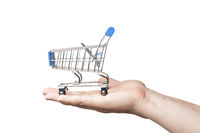 Man hold a little shopping cart on the hand, white background