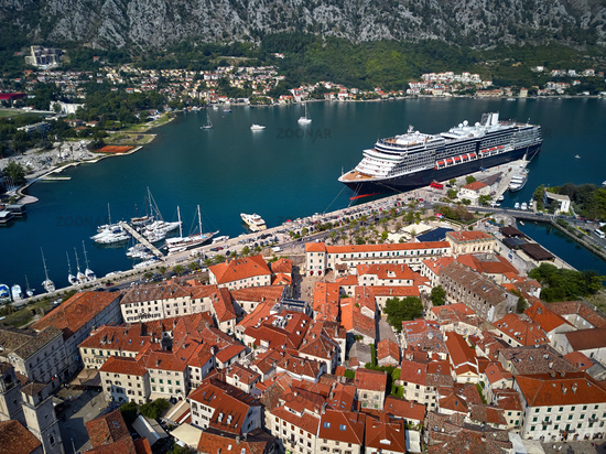 Kotor bay with moored cruise ship in Montenegro