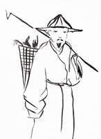 chinese peasant hand drawn in sumi-e style