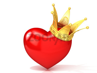 Red heart with golden crown. 3D