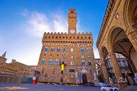 Piazza della Signoria in Florence square and Palazzo Vecchio view