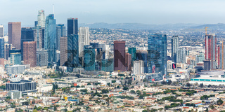 Downtown Los Angeles skyline city buildings cityscape aerial view panoramic