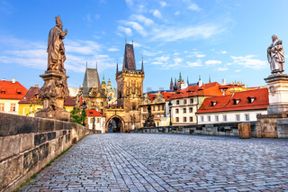 Famous Charles Bridge over the Vltava river in Prague, Czech Republic