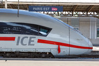 German ICE high-speed train Paris Est railway station in France