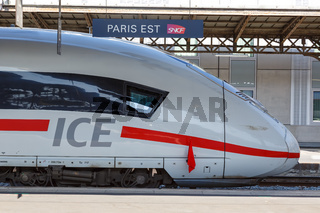 German ICE high-speed train Paris Est railway station in France