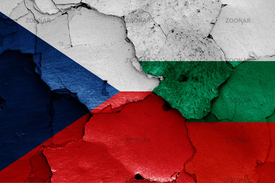 flags of Czechia and Bulgaria painted on cracked wall
